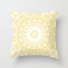 White Lace Mandala on Sunshine Yellow Background Throw Pillow