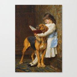 Briton Riviere  -  Reading Lesson  Compulsory Education Canvas Print