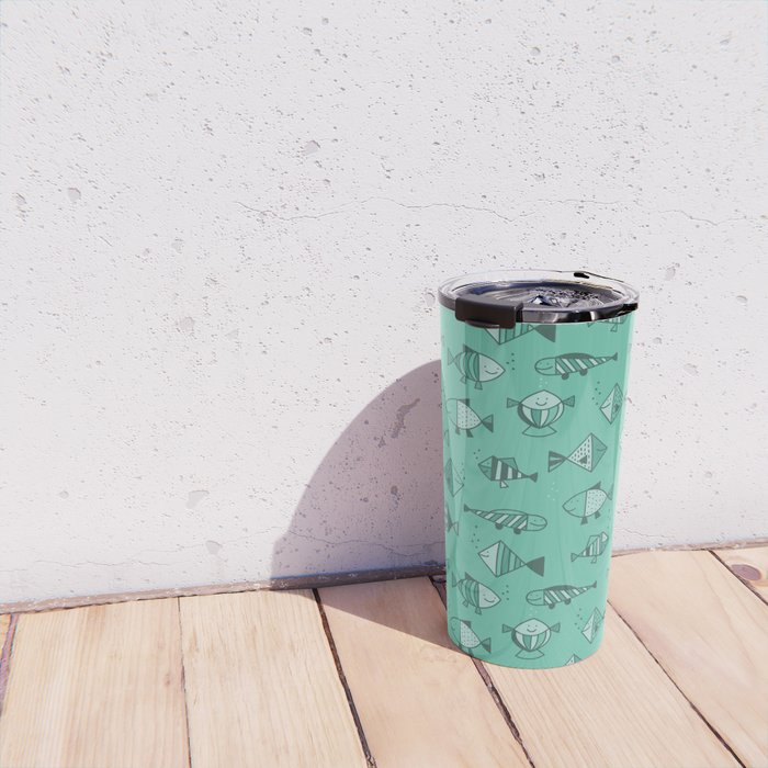Geometric fish Travel Mug