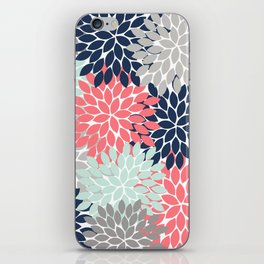 Flower Burst Petals Floral Pattern Navy Coral Mint Gray iPhone Skin