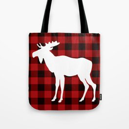 White Moose | Red Buffalo Plaid Tote Bag