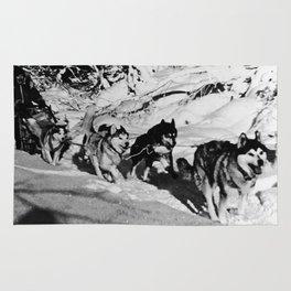 Retro USA  Alaska dog sled racing 1970 Rug