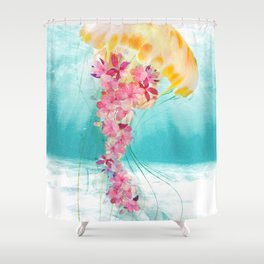 Jellyfish with Flowers Shower Curtain