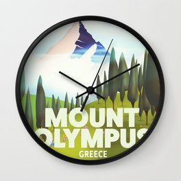 Mount Olympus, Greece, Travel poster Wall Clock