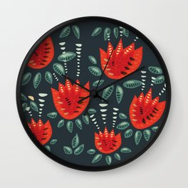 Abstract Red Tulip Floral Pattern Wall Clock