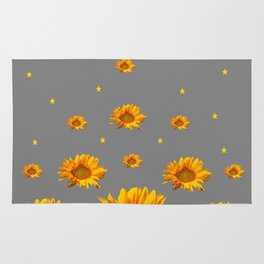 RAINING GOLDEN STARS YELLOW SUNFLOWERS GREY COLOR Rug