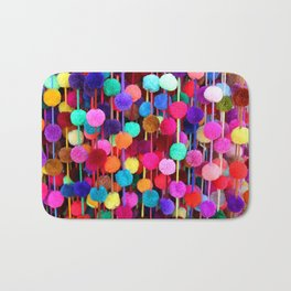 Rainbow Pom-poms (Horizontal) Bath Mat