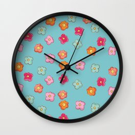 Whimsical flower floral print Wall Clock