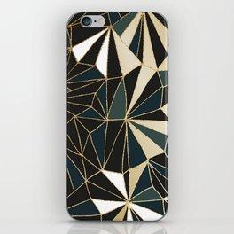 New Art Deco Geometric Pattern - Emerald green and Gold iPhone Skin