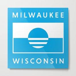 Milwaukee Wisconsin - Cyan - People's Flag of Milwaukee Metal Print