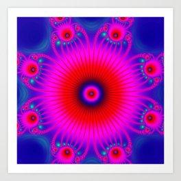 pink mandala on blue background Art Print