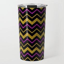 Black gold pink glitter chevron, minimalist, abstract pattern, glam, sparkle Travel Mug