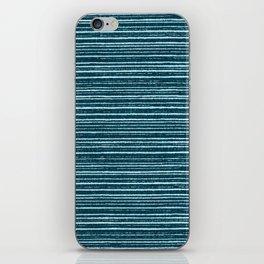 Teal watercolor brushstrokes geometrical stripes iPhone Skin