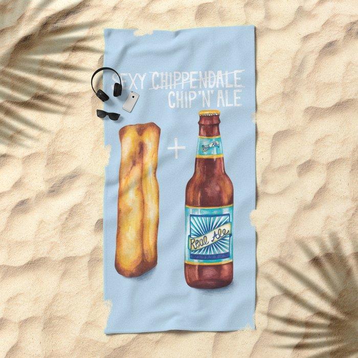 Food Pun - Sexy Chip 'N' Ale Beach Towel