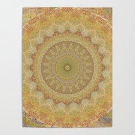 Topaz Gold Sun Marble Mandala Poster