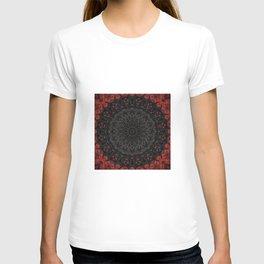 Red and Black Bohemian Mandala Design T-shirt