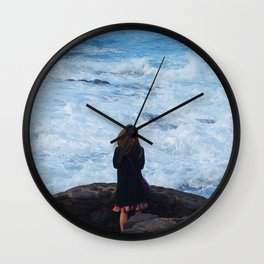 Ocean lover, meditation in front of the sea Wall Clock