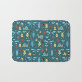 Little Bugs and Mini Beasts on Teal Bath Mat