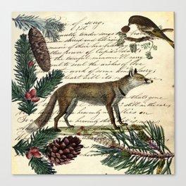 western country fairy rustic woodland nursery winter pine forest animal fox Canvas Print