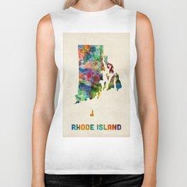 Rhode Island Watercolor Map Biker Tank