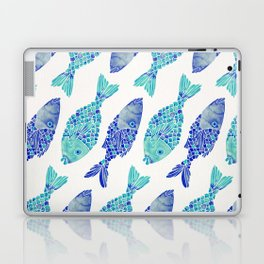 Indonesian Fish Duo – Navy & Turquoise Palette Laptop & iPad Skin