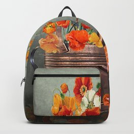 Copper Watering Can and Poppies Backpack
