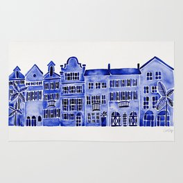 Row of Houses – Navy Palette Rug