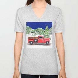 Old Red Farm Truck Winter Unisex V-Neck