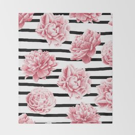 Simply Drawn Stripes and Roses Throw Blanket