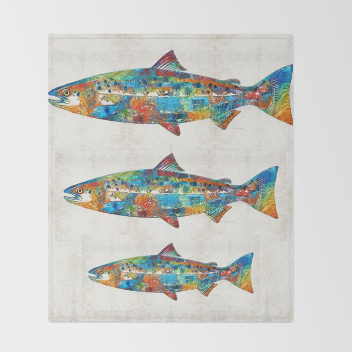 Colorful Throw Blankets Unique Fish Art Print Colorful Salmon By Sharon Cummings Throw Blanket