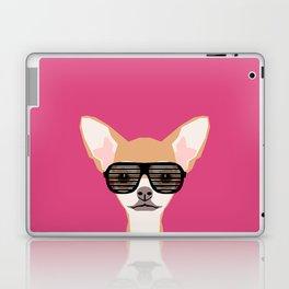 Misha with Glasses - Aviator glasses, hipster glasses, chihuahua, dog, cute, pet, cute dog Laptop & iPad Skin