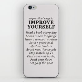 Improve yourself, motivational list for good habits, workout, daily routine, set life goals iPhone Skin