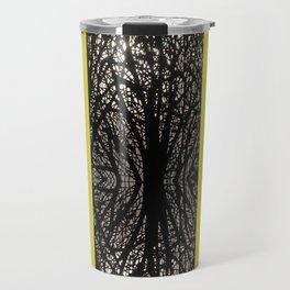 Gothic tree striped pattern mustard yellow Travel Mug
