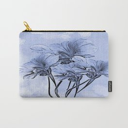 Painterly Blue Floral Carry-All Pouch