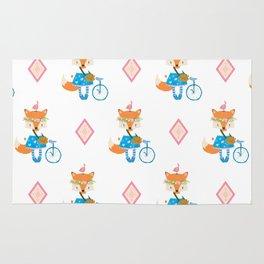 Girl Fox with Pink Diamond Rug