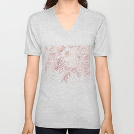 Rose gold hand drawn floral doodles and confetti design Unisex V-Neck