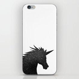 Black Glitter Unicorn iPhone Skin