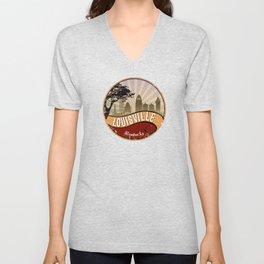 Louisville City Skyline Design Kentucky Retro Vintage Unisex V-Neck