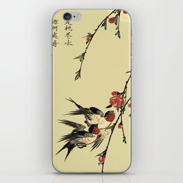 Moon Swallows and Peach Blossoms iPhone Skin