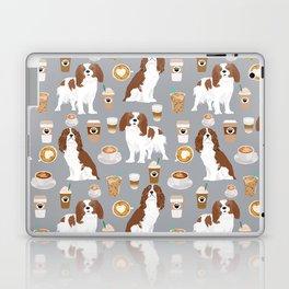 Cavalier King Charles Spaniel coffee lover custom pet portrait by pet friendly dog breeds Laptop & iPad Skin