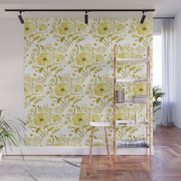 Flower bouquet with poppies - yellow Wall Mural