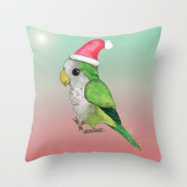 Green Christmas parrot Throw Pillow