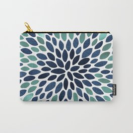 Flower Bloom, Aqua and Navy Carry-All Pouch