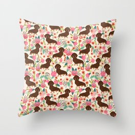 Doxie Florals - vintage doxie and florals gift gifts for dog lovers, dachshund decor, chocolate and Throw Pillow