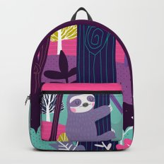 Sloth in the woods Backpacks