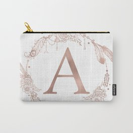 Letter A Rose Gold Pink Initial Monogram Carry-All Pouch