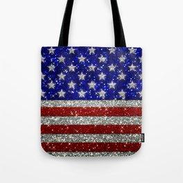Glitter Sparkle American Flag Pattern Tote Bag