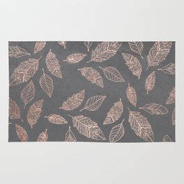 Rose gold hand drawn boho feathers hand drawn grey industrial concrete cement Rug