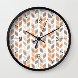 Modern Rectangle Print with Retro Abstract Leaf Pattern Wall Clock