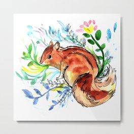 Cute Korea squirrel in sping flowers Metal Print